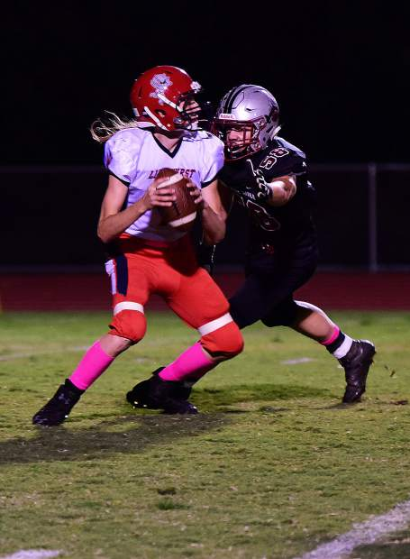 Bear River's Tre Maronic hauls in a touchdown pass during the Bruins win over Lindhurst Friday night.