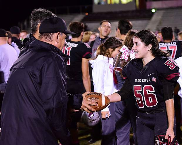 Bear River's Shelbi Beghetti ran into the history books Oct. 5 when she reached the end zone from a yard out to become the first female football player in Bear River history to score a touchdown. Beghetti and the Bruins went on to win the game over Lindhurst 49-0.