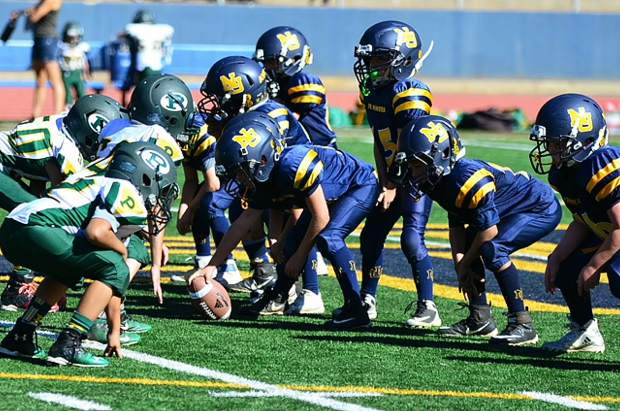 The Nevada Union 8U Jr. Miners earned a 14-8 victory over Placer Saturday at Hooper Stadium.