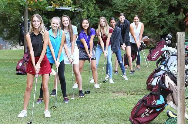 Bear River golfers during a practice session earlier this season (from left) Hannah Prosser, Kalei Owen, Julia Pisenti, Dominique Peter, Madison Templeton, Corina Shaw, Sarah Anderson, and Tressie Constantino. Not pictured Nicolette Antisdel.