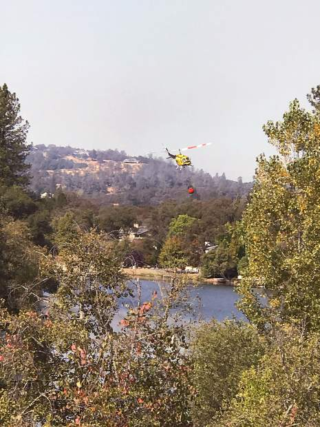 Helicopter on the move after battling the Lobo blaze.