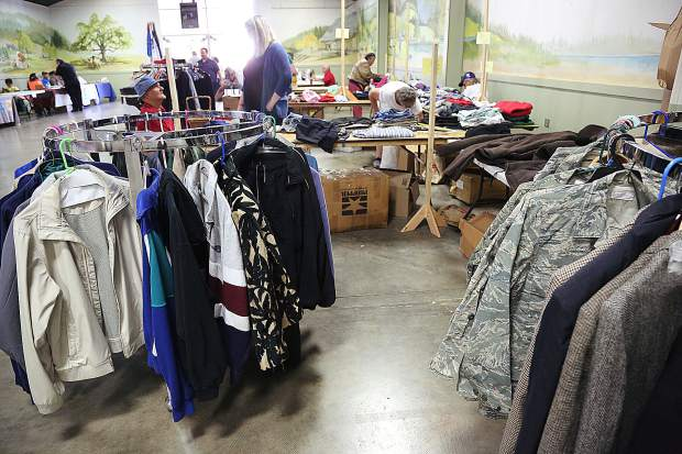Racks of new clean clothes were made available for vets to take alongside the more than 40 vendors offering services ranging from free vision care, chiropractic care, and haircuts.