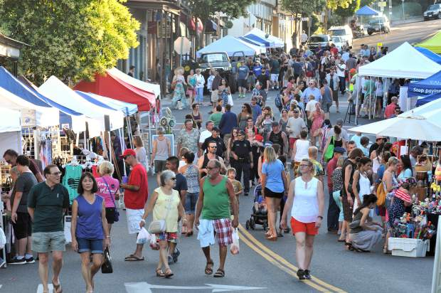 A large group of people pack Main Street in downtown Grass Valley for the first Thursday Night Market in 2017.