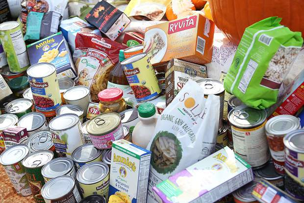 Canned and non-perishable foods are collected at Yuba River Charter School.