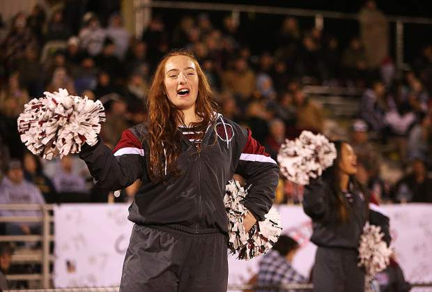 The Bear River cheerleaders kept fan and player spirits high when temperatures dropped during Friday night's playoff game against the Center Cougars.