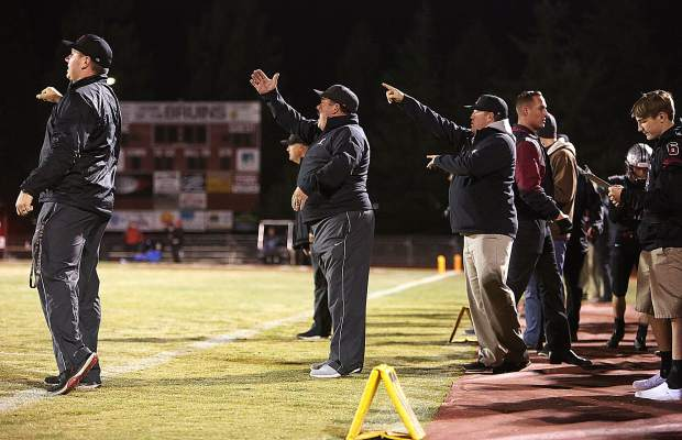 Bear River's coaches instruct the team from the sideline during Friday's playoff win over Center.