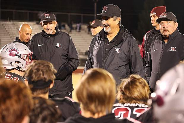 Bear River coaches celebrate a hard fought win over the Center Cougars.