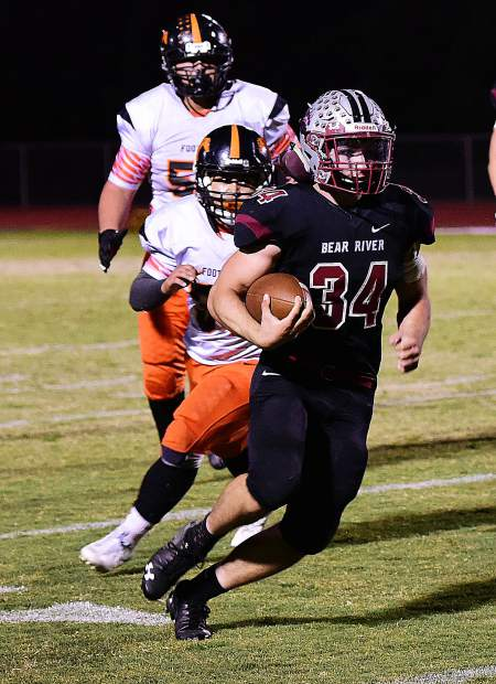 Bear River's Hunter Daniels rushed for 108 yards and four touchdowns in the Bruins' victory over Foothill Friday night.