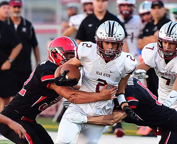 Bear River's Colton Jenkins gains ground during the Bruins' 49-0 victory over Pershing County (Lovelock, Nevada).