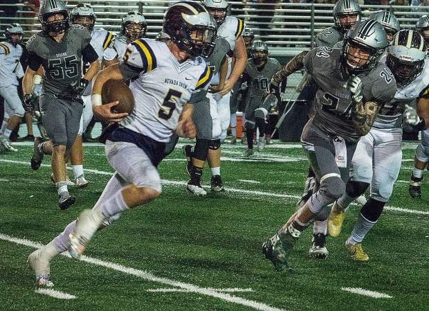 Nevada Union's Dawson Fay rushed for 223 yards and two touchdowns against Ponderosa Friday night. Fay now has 3,443 career rushing yards at the varsity level, which is an NU school record.