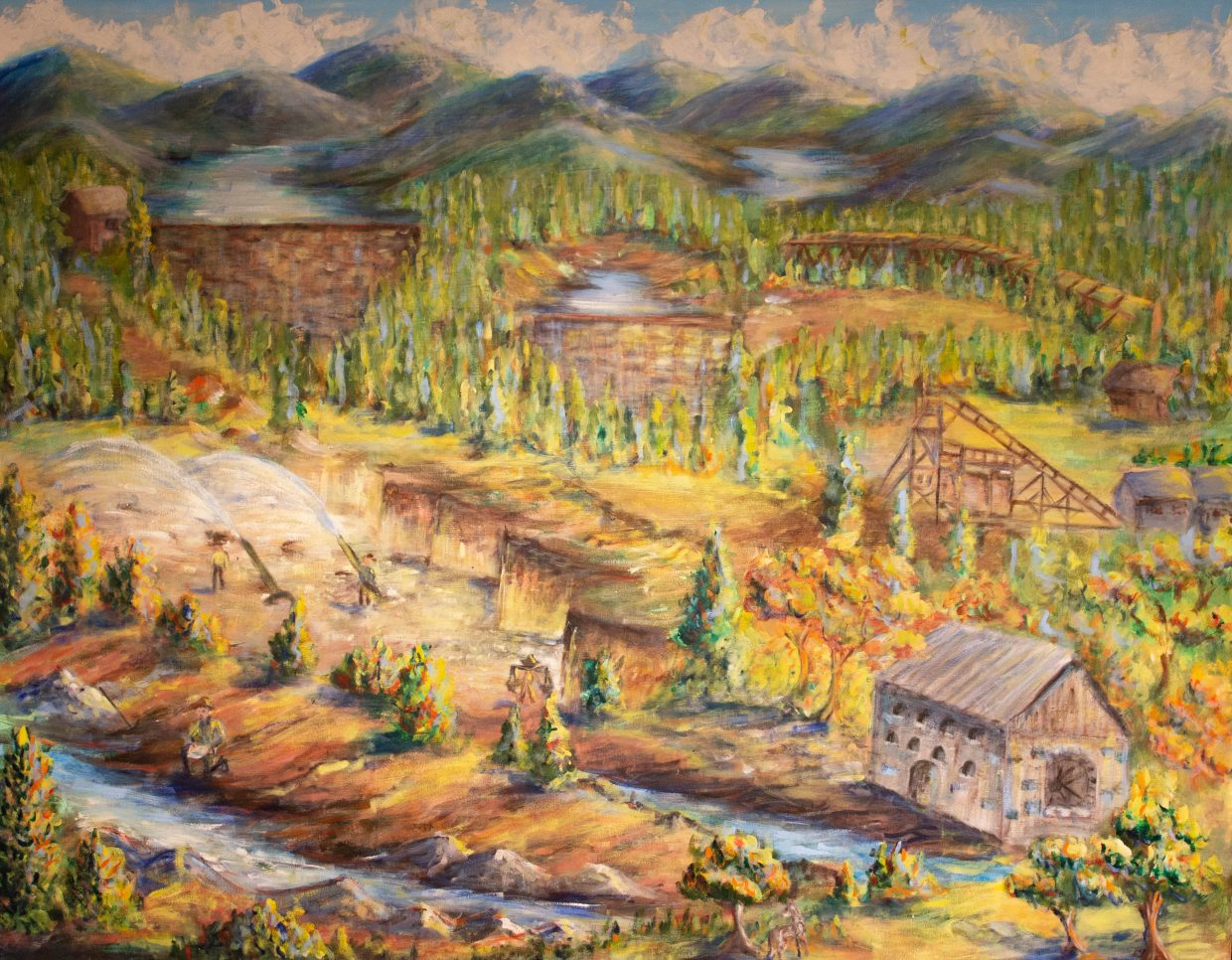 The first of three panels that hang in the NID board room, which shows the mining phase of Nevada County.  The Plan for Water will determine what the fourth panel will look like.