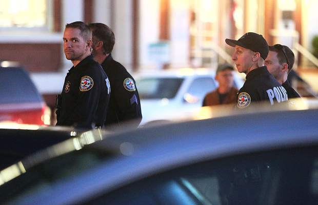 Members of the Grass Valley Police Department were on hand to make sure that Thursday night's protest remained peaceful.