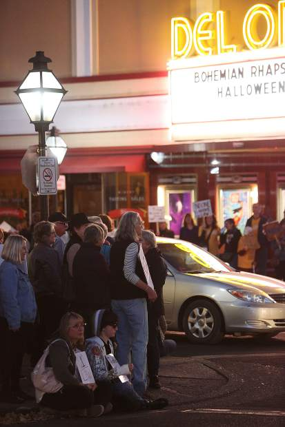 A large crowd gathered near and around the Del Oro Theater in downtown Grass Valley during Thursday evening's protest regarding the firing of U.S. Attorney General Jeff Sessions.