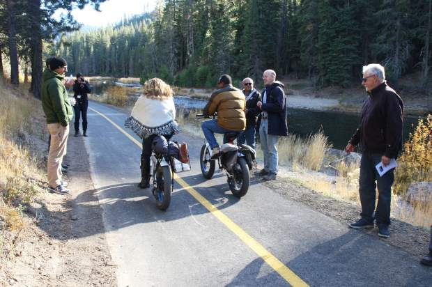 The Tahoe City Public Utility District and Placer County officials celebrated the reopening of the Truckee River Trail after a summer long reconstruction project.
