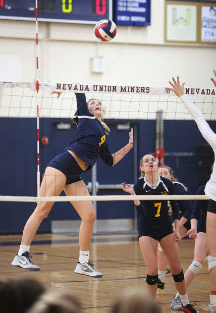 Nevada Union senior Meadow Aragon readies to fire a spike over the net towards the Matadors during Thursday's matchup.
