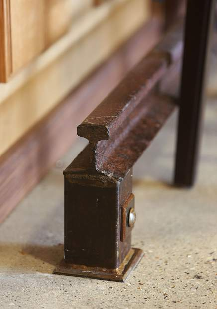 Details like an iron rail used as a foot rest, occupy the space at 1849 Brewing Co.