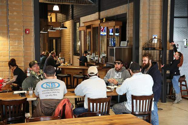 1849 Brewing Co. staff cater to customers in Nevada County's newest brew pub and eatery located under the same roof as The Union newspaper in Grass Valley's Glenbrook basin. 1849 will celebrate their official grand opening and ribbon cutting ceremony at 5:30 p.m. Thursday.