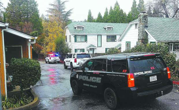 Grass Valley police vehicles respond to Tuesday afternoon's armed robbery in an apartment along the 300 block of Pleasant Street.