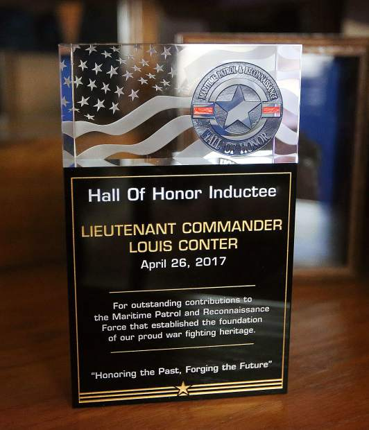 One of Louis Conter's most prized awards is a plaque honoring him as an inductee into the Maritime Patrol and Reconnaissance Hall of Honor.