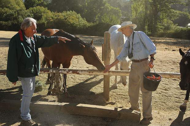 Ferguson and Czember make quick work of feeding the more than 30 remaining horses on the Diamond F Ranch.