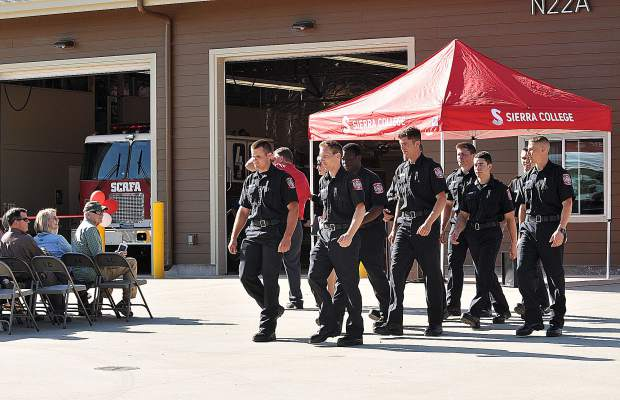 Sierra College's first group of fire academy students are presented to the crowd in attendance of Tuesday afternoon's unveiling of their fire academy at the Sierra College Public Safety Training Center.
