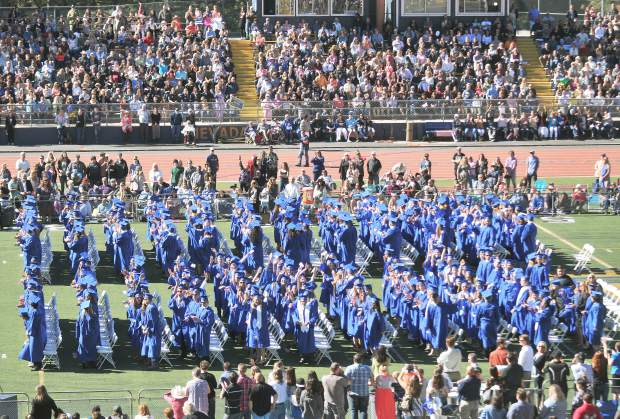 The 339 graduating Nevada Union High School seniors turn and wave to their families during the 2017 graduation ceremony. The California Assessment for Student Performance and Progress test scores are in and Nevada Union remains above the state average despite dipping from last year.
