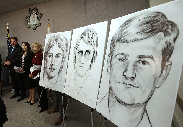 FILE - In this June 15, 2016, file photo, law enforcement drawings of a suspected serial killer believed to have committed at least 12 murders across California in the 1970's and 1980's are displayed at a news conference about the investigation, in Sacramento, Calif. The Sacramento County District Attorney's Office plans to make a 'major announcement