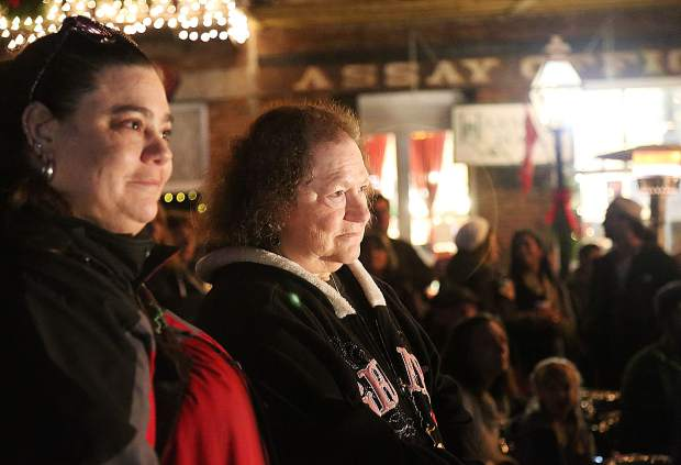 Attendees of Thursday evening's menorah lighting ceremony fill Robinson Plaza during the event.