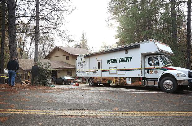 A Nevada County Sheriffs mobile command center sits in front of a home on the corner of Lawrence Way and Oscar Drive in Alta Sierra where an investigation into a missing man continued.