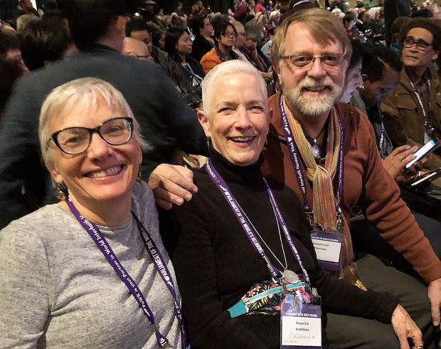 Sushila Mertens, Georgis Dow and Rev. Jerry Farrell from Grass Valley attended the event.
