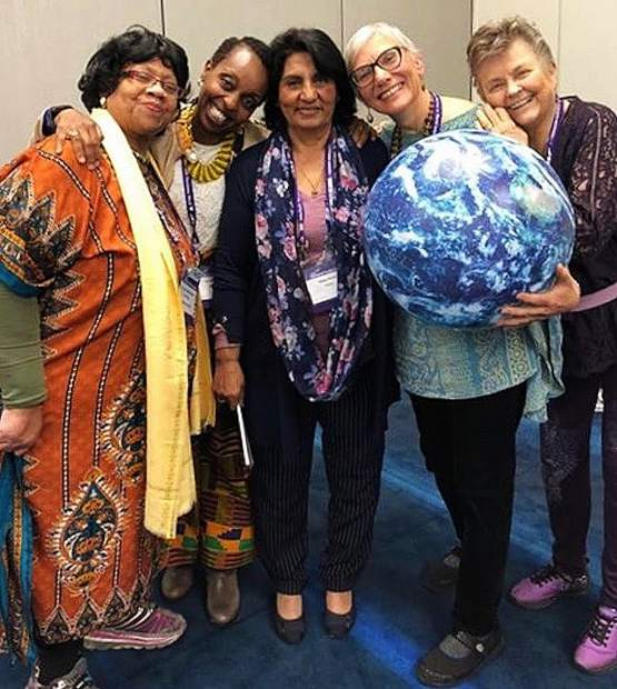 The Dismantling the Patriarch panel at The World Parliament of World Religions in Toronto including representatives from the United States, Kenya and Pakistan, including Grass Valley's Sushila Mertens and Marilyn Nyborg, fourth and fifth to the right, respectively.