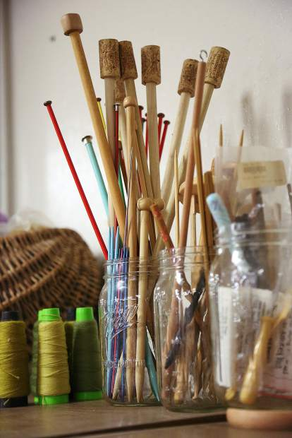 Shelves full of knitting supplies are ready for those eager to learn, or wanting to perfect their craft at the Curious Forge's new Fiber Arts program.