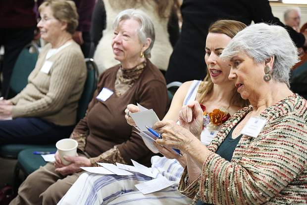 League of Women Voters Forum volunteers screen questions from the audience for redundancy and relevance to Saturday's topic of homelessness in Nevada County.