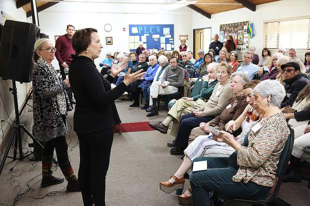 Hospitality House Executive Director Nancy Baglietto answers a handful of audience questions during the latter portion of Saturday's League of Women Voters Forum on homelessness in Nevada County.