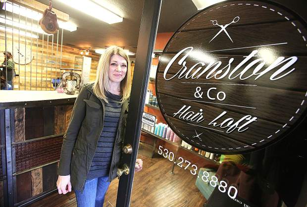 Sarah Cranston stands in the doorway of her Cranston and Co Hair Loft at 1200 East Main Street in Grass Valley.
