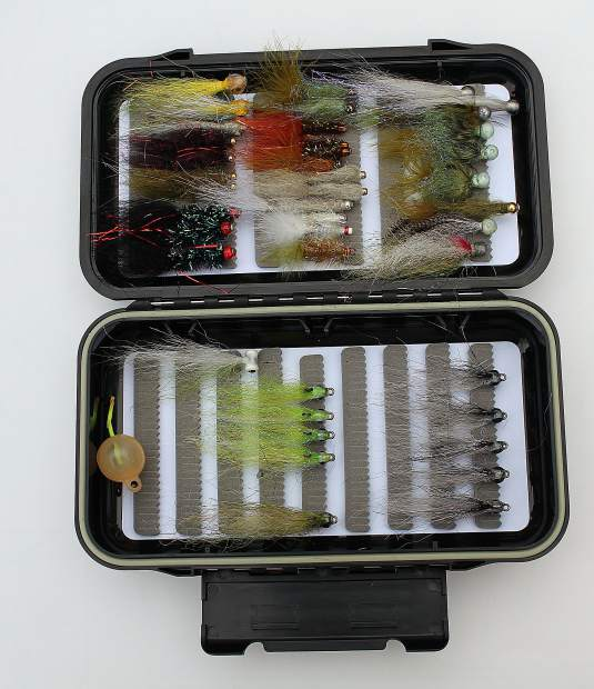 A glimpse into a guide's winter bass fly box.