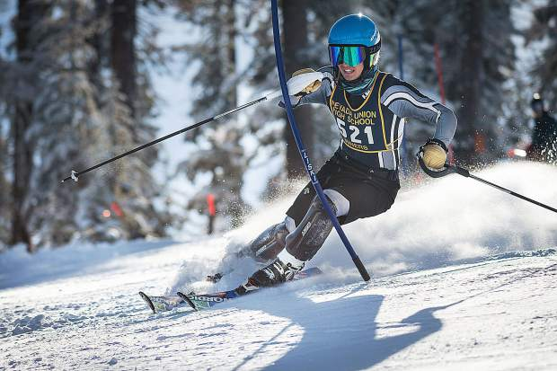 Nevada Union's Judah Good earned first place in the boys slalom race Tuesday at Northstar.