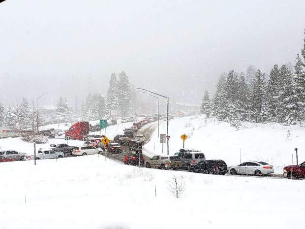 Truckee's roadways were gridlocked with traffic on Sunday as heavy snow closed down Interstate 80 over Sunday night.