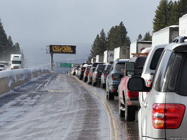 Traffic was heavy on I-80, near Overland Trail, once it reopened after a long closure.