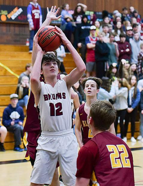 Bear River's Justin Powell tallied seven points during the Bruins' 66-39 first round playoff victory over Calaveras Wednesday night at Jack R. McCroy Gymnasium.
