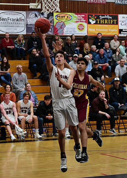 Bear River's Caleb Lowry scored a game-high 22 points during the Bruins' 66-39 first round playoff victory over Calaveras Wednesday night at Jack R. McCroy Gymnasium.