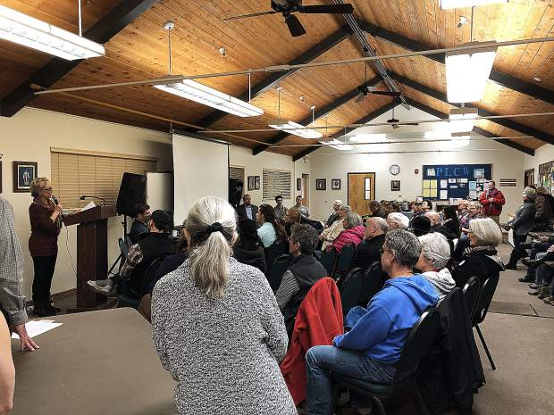Attendees of the League of Women Voters event at the Peace Lutheran Church learn about various perspectives on medical marijuana.