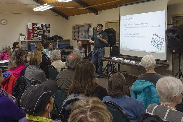 Sean Powers of Nevada County's Community Development Agency speaking in front of the people that attended the forum.