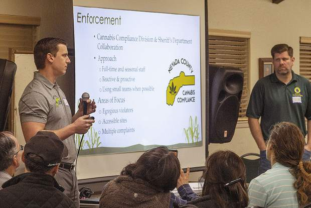 Craig Griesback of Nevada County Cannabis Compliance (left) and Sean Powers of Nevada County's Community Development Agency spoke to attendees of Saturday's forum on medicinal cannabis use.