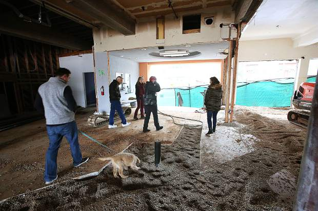 Center For The Arts remodel project personnel check on the center's progress last week in downtown Grass Valley.