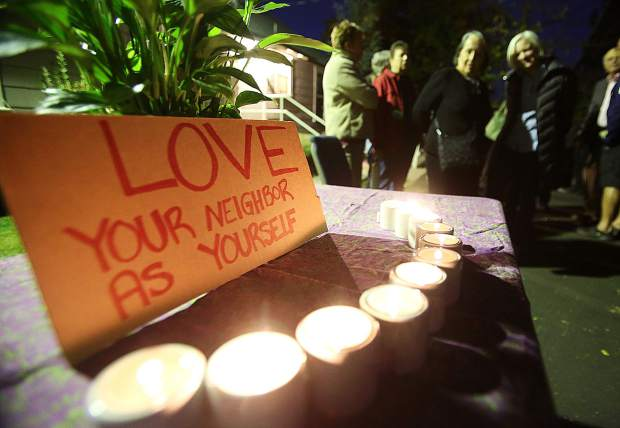 Candles were lit outside of Grass Valley's Congregation B'nai Harim as folks came to gather following the mass shooting at a synagogue in Pittsburgh.