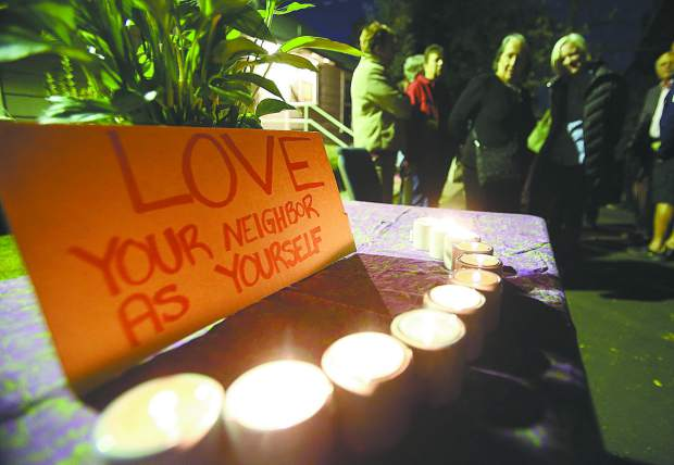 Candles were lit outside of Grass Valley's Congregation B'nai Harim as folks came to gather following last week's mass shooting at a synagogue in Pittsburgh.