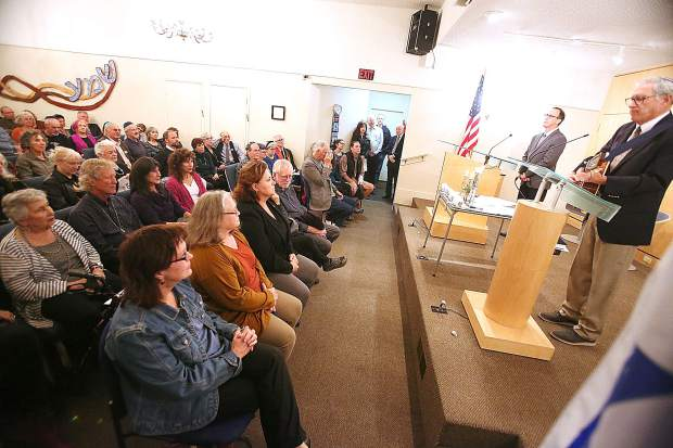 Hundreds of community members packed the Congregation B'nai Harim of the Nevada County Jewish Community Center in Grass Valley Friday night, to mourn and grieve for the nation following last week's mass murder at a synagogue in Pittsburgh.