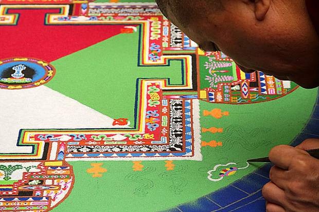 A close up photo of the sand mandalas created by the Tibetan Monks in Nevada County.