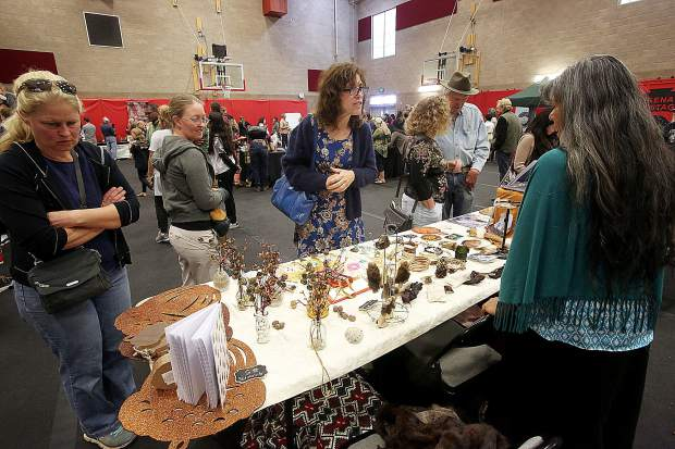 Many different vendors had booths at the Sierra College gymnasium for Nisenan Heritage Day, including local non-profits Sierra Streams Institute, Sierra Fund, SYRCL, Bear Yuba Land Trust, and Middle Mountain Foundation.